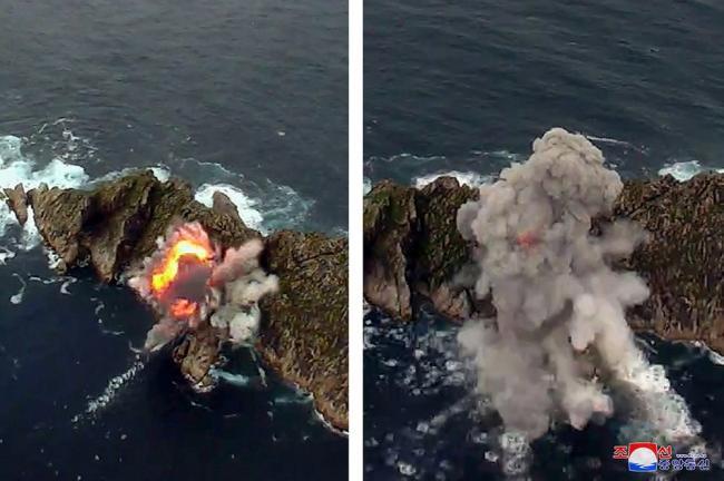 朝鲜再射战术导弹:尺寸短粗火力强大