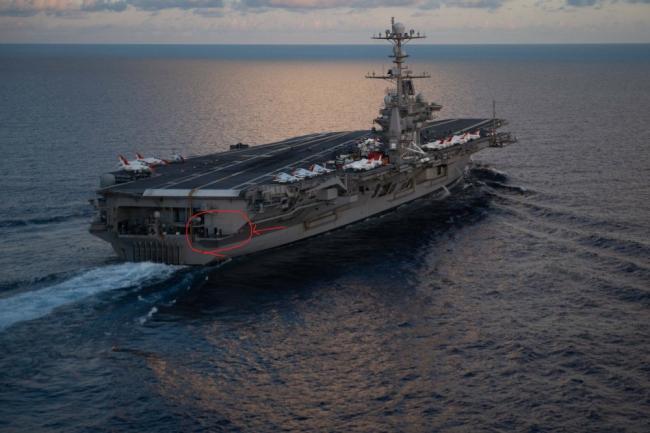 美军斯坦尼斯号航母舰员船尾自在钓鱼