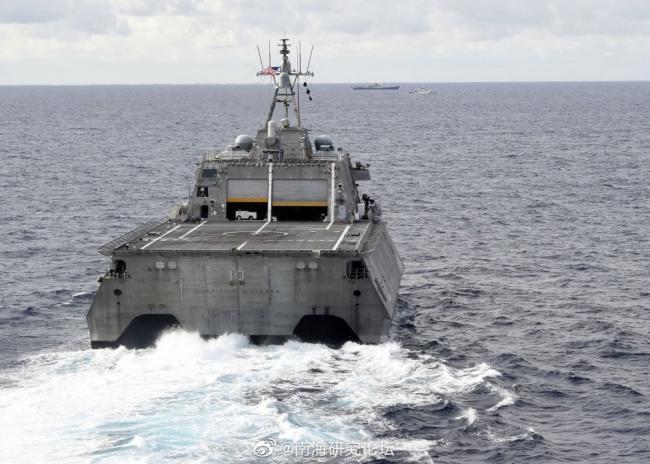 中国调查船赴南沙作业美军濒海战斗舰紧随