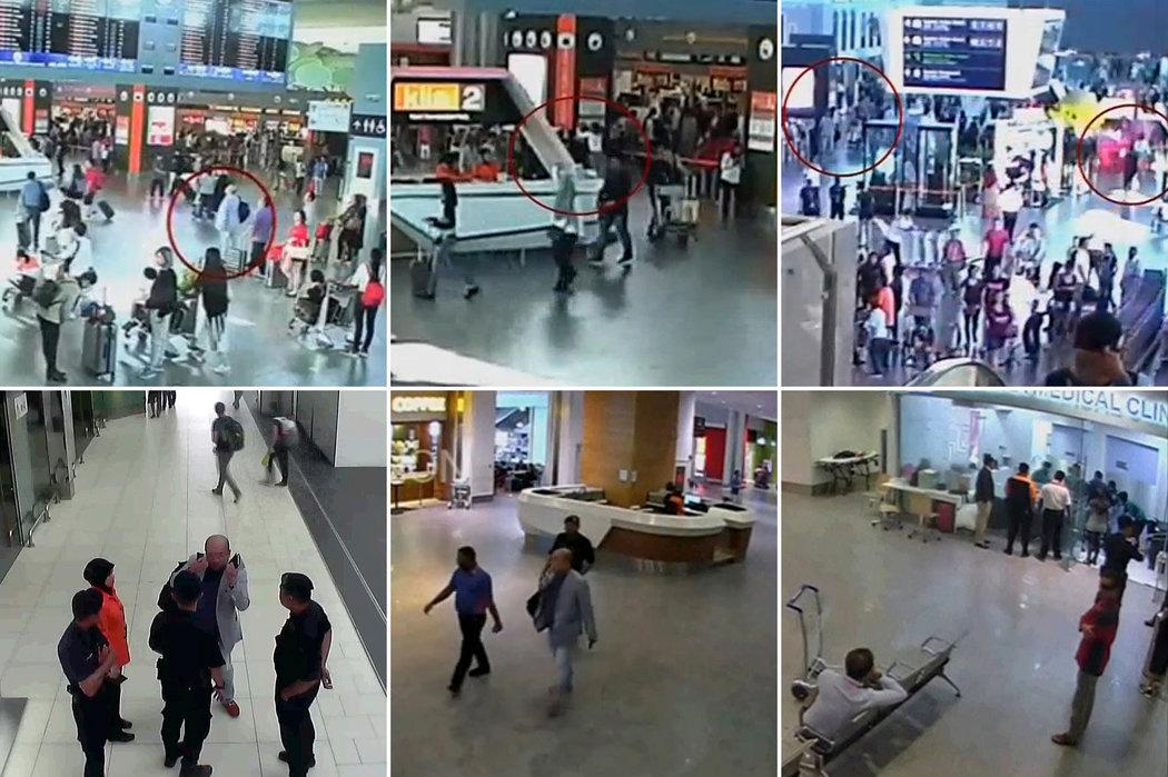 吉隆坡机场的安保摄像头拍到金正男抬头看出发航班公告板,一名女子在袭击了他后走开。遇袭后他向机场安保人员求助,并被送往医务室。