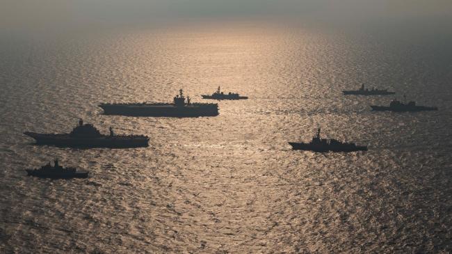 美日澳印四国海上联演针对中国 美印双航母抢镜