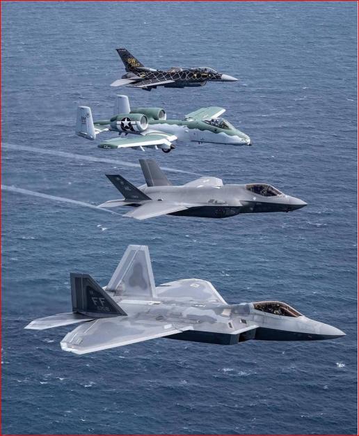 美军四大战机同框齐飞 视觉画面超震撼
