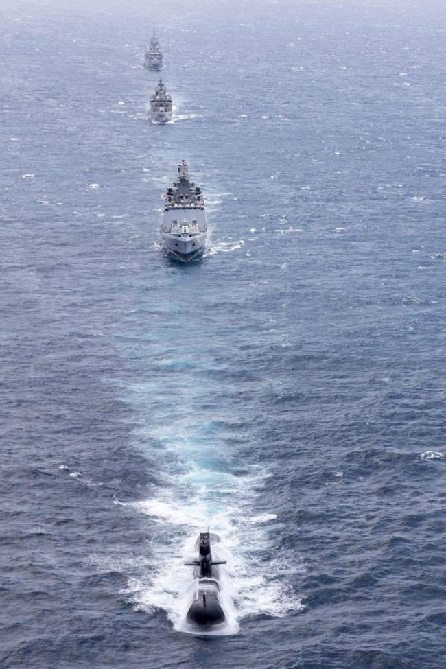 美日印澳四國海軍今年8月份曾舉行「馬拉巴爾」(MALABAR 2021)年度海上聯合軍演。圖:翻攝Indian Navy臉書