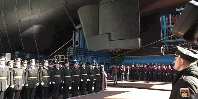 俄最新潜艇下水 可搭载核动力鱼雷