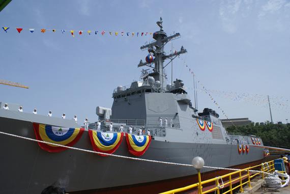 韩国首艘宙斯盾舰服役 可同时跟踪1000个目标 (组图)