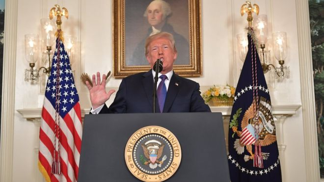 US President Donald Trump addresses the nation on the situation in Syria April 13, 2018 at the White House in Washington, DC. Trump said strikes on Syria are under way.