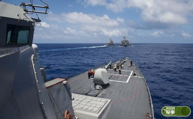 美日印海上演习 中国侦察船现身