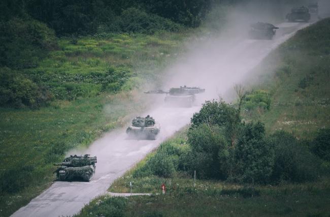 奥地利军事学院年度演习 搬出坦克配合