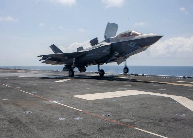 美海军和马来西亚海军举行联合演习F35B亮相