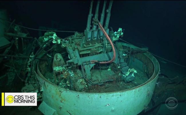 二战中被日击沉美大黄蜂号航母水下图像曝光