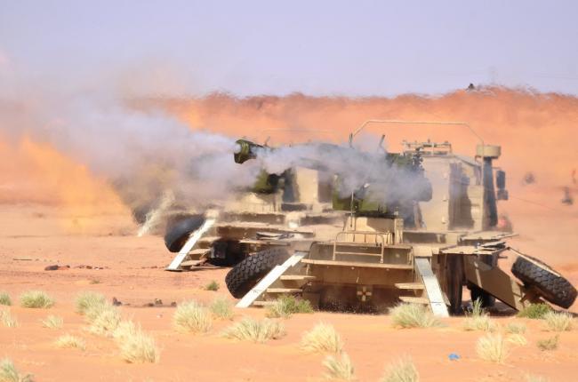 阿尔及利亚陆军演习规模大火炮一字排开齐射