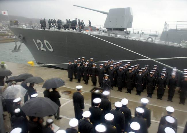 日不知火号驱逐舰首次进入大凑基地正式服役