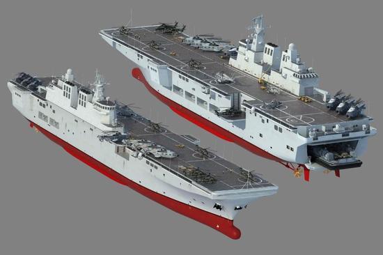 中国075两栖舰甲板有2.5个足球场大 可载30架直升机