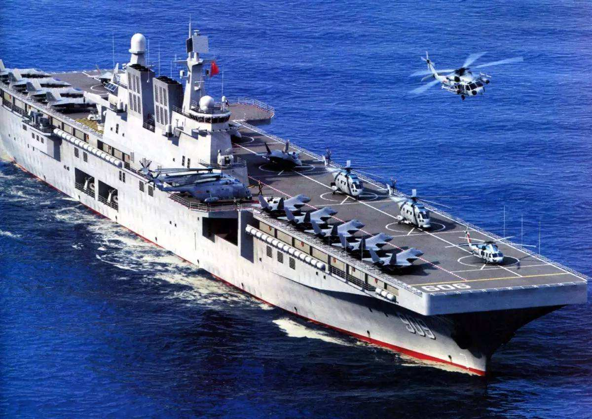 075型两栖攻击舰再现真身,已安装舰岛